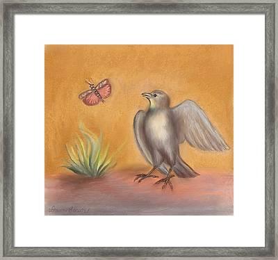 Lark And Grasshopper Teen Drawing Framed Print