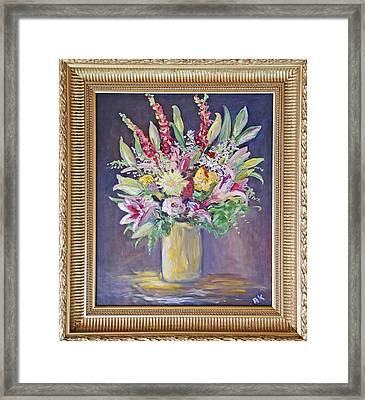 Framed Print featuring the painting Larkspur Floral by Barbara Anna Knauf