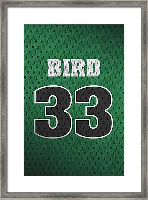 Larry Bird Boston Celtics Retro Vintage Jersey Closeup Graphic Design Framed Print by Design Turnpike