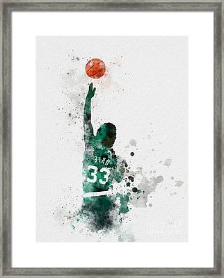 Larry Bird Framed Print by Rebecca Jenkins