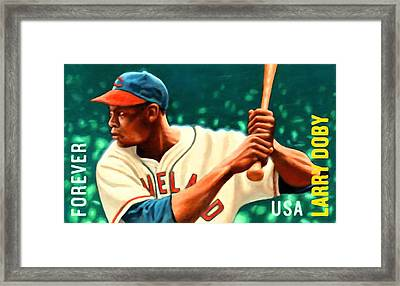 Larry Doby Framed Print by Lanjee Chee