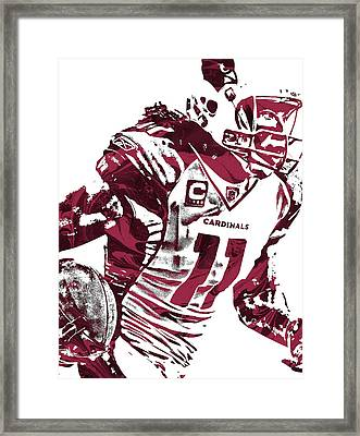 Framed Print featuring the mixed media Larry Fitzgerald Arizona Cardinals Pixel Art 1 by Joe Hamilton