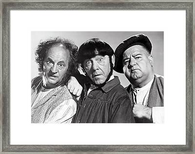 Larry, Moe And Curly Framed Print