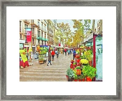 Framed Print featuring the digital art Las Ramblas In Barcelona by Digital Photographic Arts