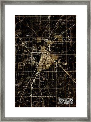 Las Vegas 1952 Brown Old Map Framed Print