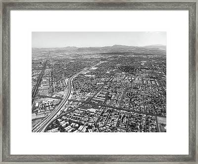 Las Vegas City Ariel View In Black And White Framed Print by Art Spectrum