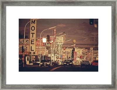 Las Vegas Commercial Street Framed Print by Everett