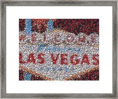 Las Vegas Sign Poker Chip Mosaic Framed Print by Paul Van Scott