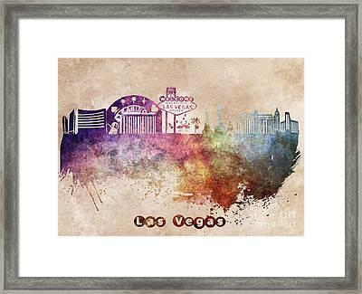 Las Vegas Skyline Art Framed Print