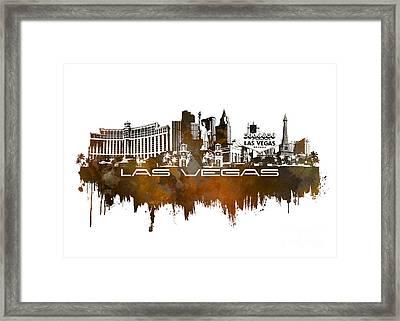 Las Vegas Skyline City Brown Framed Print
