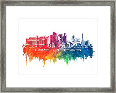 Las Vegas Skyline City Color Framed Print