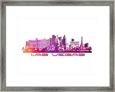 Las Vegas Skyline City Purple Framed Print