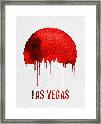 Las Vegas Skyline Red Framed Print
