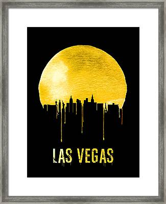 Las Vegas Skyline Yellow Framed Print