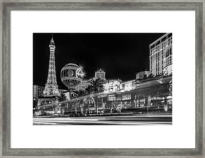 Las Vegas Strip Light Show Bw Framed Print by Susan Candelario