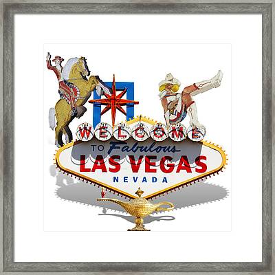 Las Vegas Symbolic Sign On White Framed Print