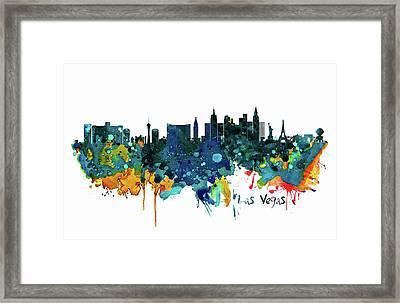 Las Vegas Watercolor Skyline Framed Print
