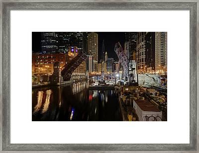 Lasalle St Draw Bridge Maintenance - Chicago River Framed Print by Daniel Hagerman