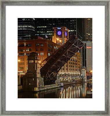 Lasalle Street Bridge Up - Chicago Framed Print by Daniel Hagerman