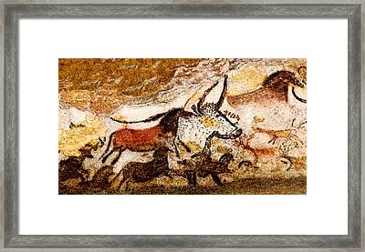 Lascaux Hall Of The Bulls - Horses And Aurochs Framed Print