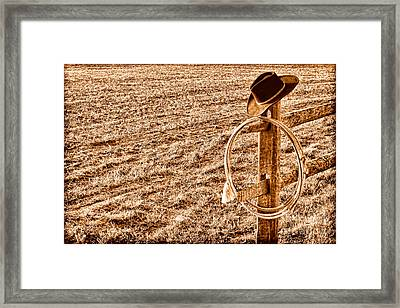 Lasso And Hat On Fence Post - Sepia Framed Print