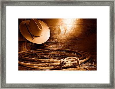Lasso In Old Barn - Sepia Framed Print