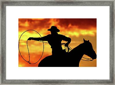 Lasso Sunset Cowboy Framed Print