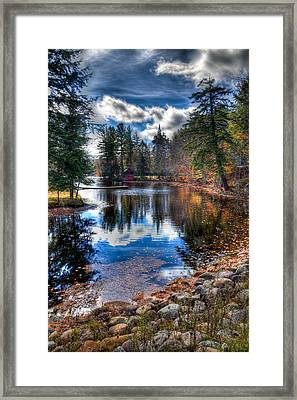 Last Bit Of Fall Color At The Boathouse Framed Print