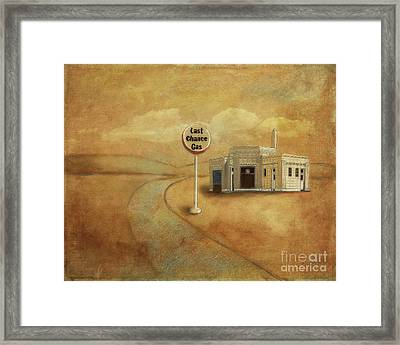 Framed Print featuring the digital art Last Chance Gas by Lois Bryan