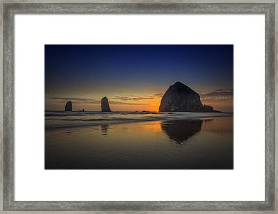 Last Light At Cannon Beach Framed Print by Rick Berk