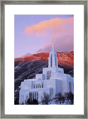 Last Light At Draper Temple Framed Print by Chad Dutson