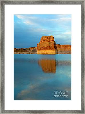 Last Light At Lone Rock Framed Print by Mike Dawson