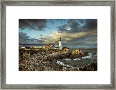 Last Light At Portland Head Framed Print by Tom Weisbrook