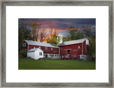 Last Light At The Red Barn Framed Print