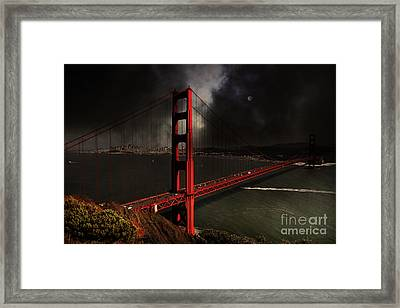 Last Light Beyond The Golden Gate . 7d14507 Framed Print by Wingsdomain Art and Photography