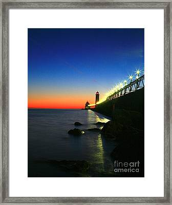 Last Light Grand Haven Michigan Framed Print by Robert Pearson