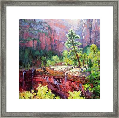 Framed Print featuring the painting Last Light In Zion by Steve Henderson