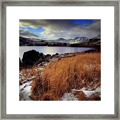 Last Light On Crib Goch Framed Print by Peter OReilly