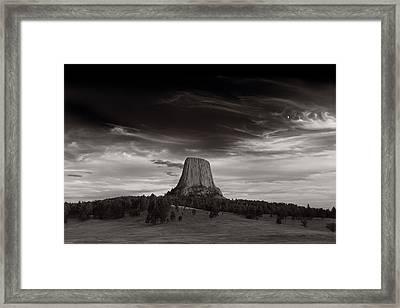 Last Light On Devils Tower Bw Framed Print by Steve Gadomski