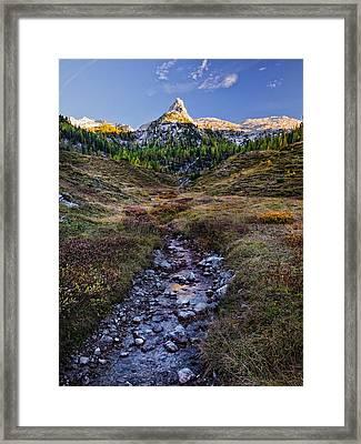 Framed Print featuring the photograph Last Light On Lederkopf by Alexander Kunz