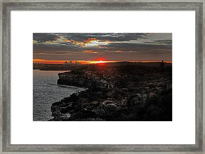 Framed Print featuring the photograph Last Light Over North Head Sydney by Miroslava Jurcik