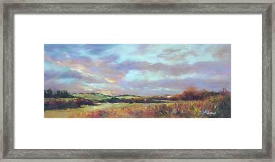 Last Light Over The Hills. France Framed Print by Rae Andrews