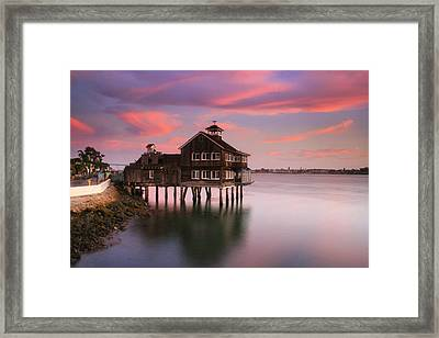 Last Light Pier Cafe Framed Print