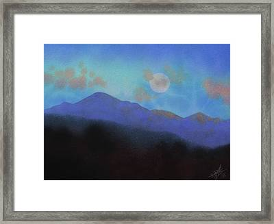 Last Light With Moonrise Over Iron Mountain Framed Print by Robin Street-Morris