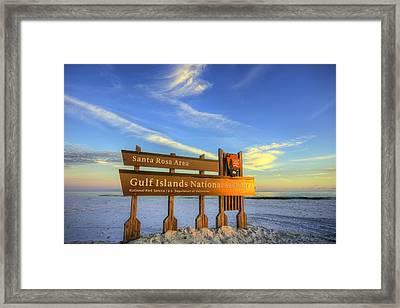 Last Rays Of The Sun On The Gulf Islands National Seashore Framed Print