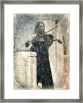 Last Song Girl With Violin Framed Print by Pamela Patch