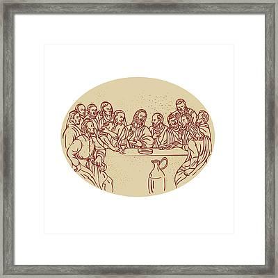 Last Supper Jesus Apostles Drawing Framed Print