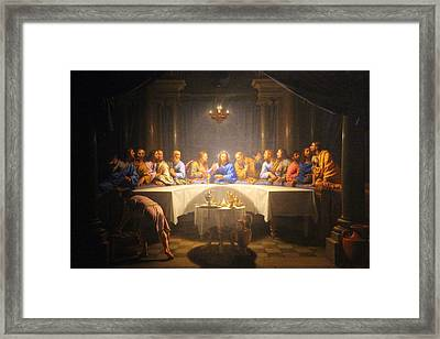 Last Supper Meeting Framed Print by Munir Alawi