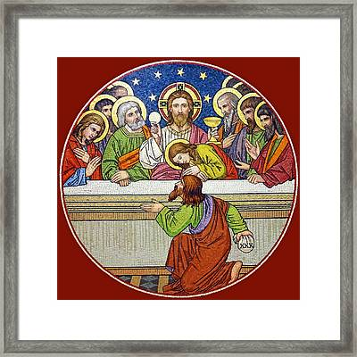 Last Supper Mosaic Framed Print by Munir Alawi