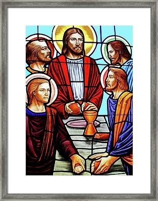 Last Supper Stained Glass Framed Print